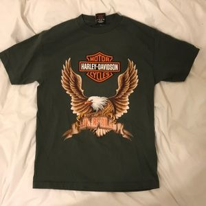 Harley Davidson Bikers Rule Army Green Tee